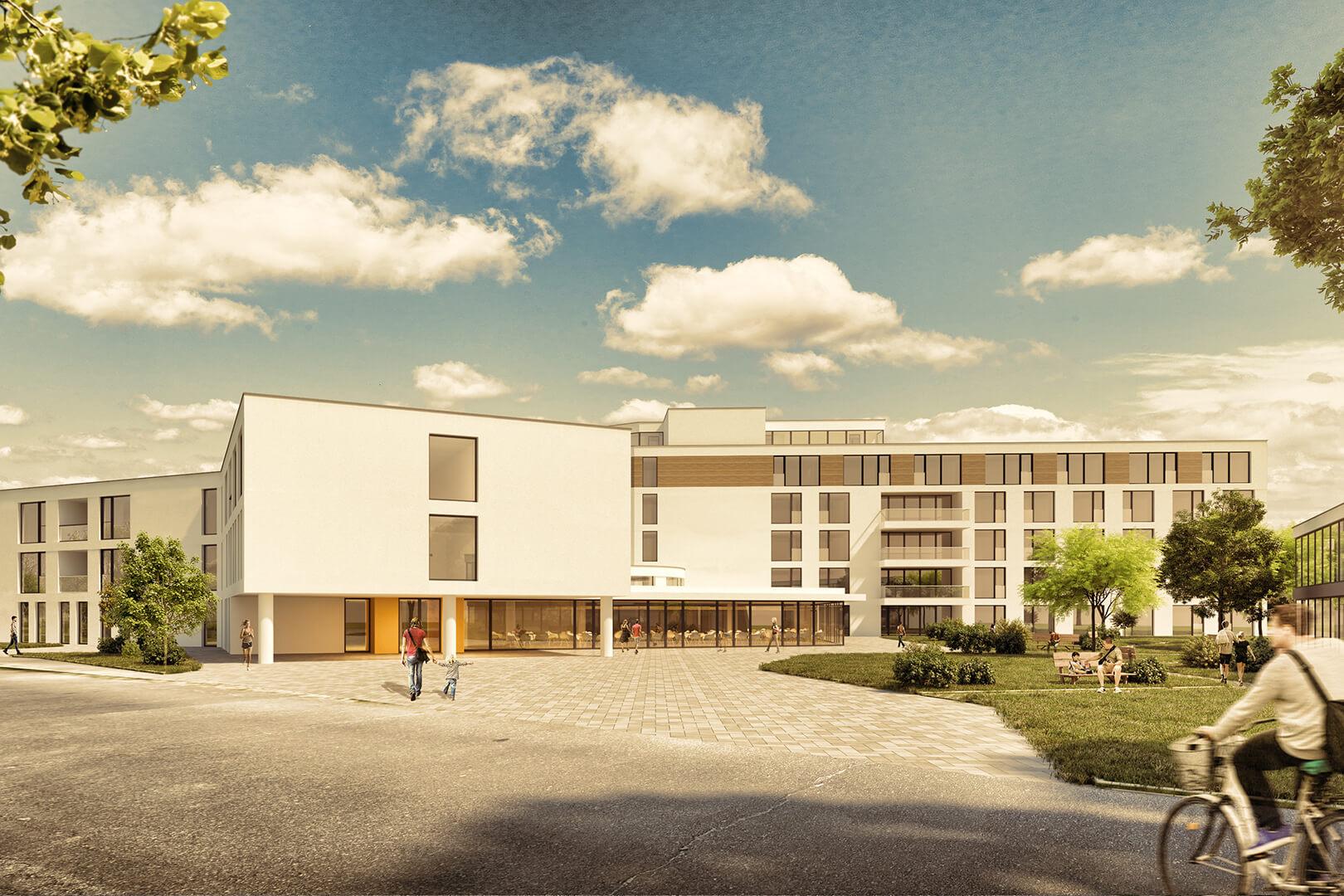 Aufforderung zur Teilnahme am Wettbewerb für ein Pflegezentrum in Rosenheim, 2. Platz
