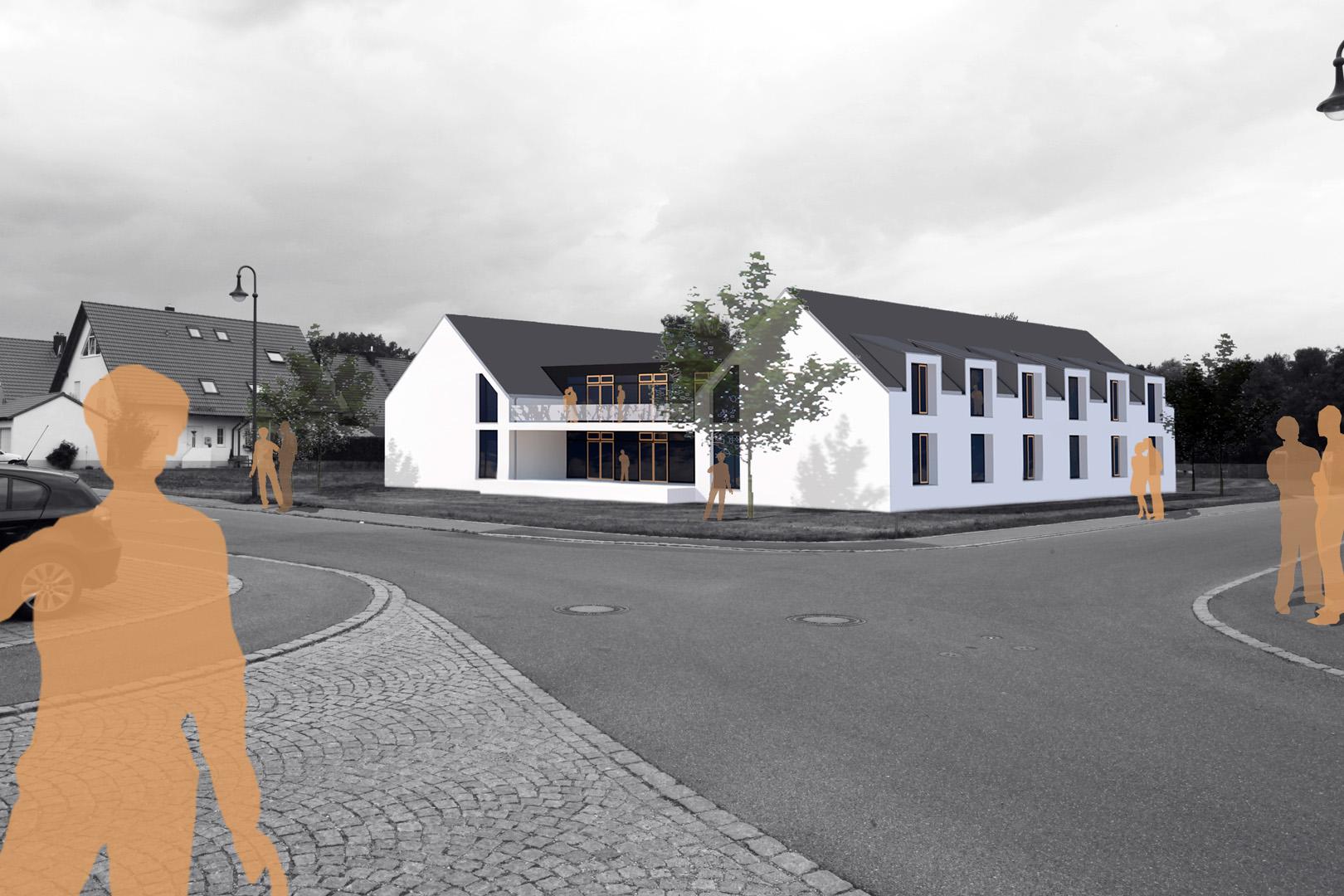 Wohnen für Demente in Burgau: Planung 2011 / BRI ca. 7.300m³ / BGF ca. 850m²